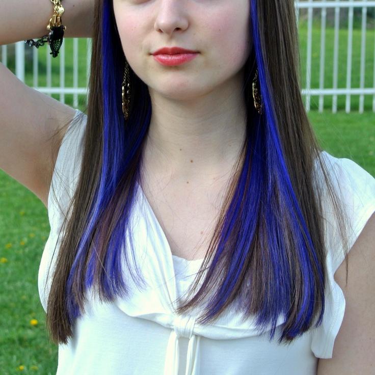 purple streaks underneath hair pinterest
