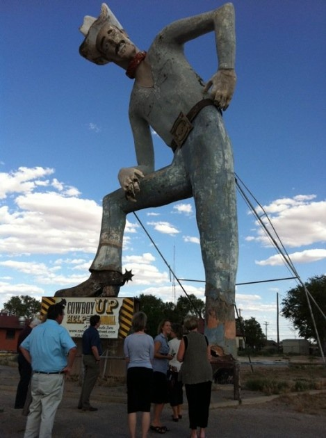 He's in the town I live in!Big Tex Randall...50ft tall...1959....  Canyon TX!! Lets help Tex Randall get a makeover!