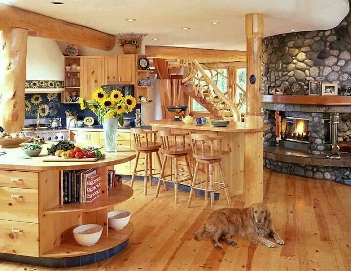 Log Home Kitchen Dream And Peaceful Pinterest