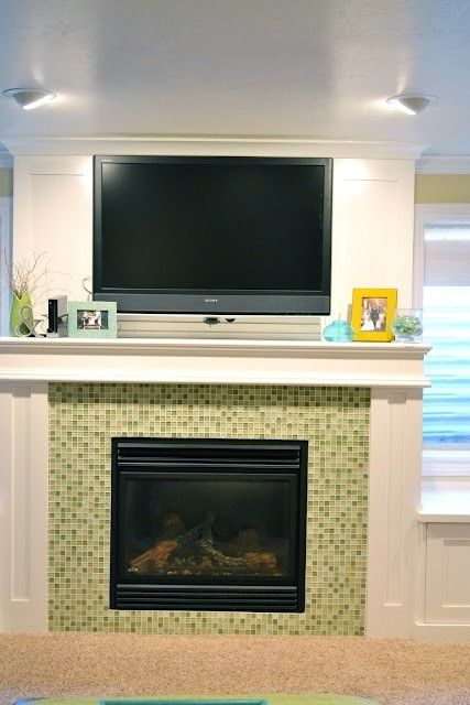 tile around fireplace by marcia
