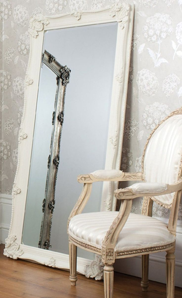 Cream ornate full length mirror