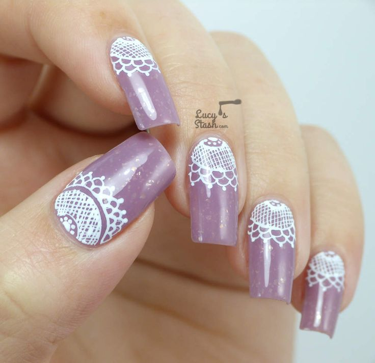 Lace Half Moon Nail Art with TUTORIAL | Primadonna | Pinterest