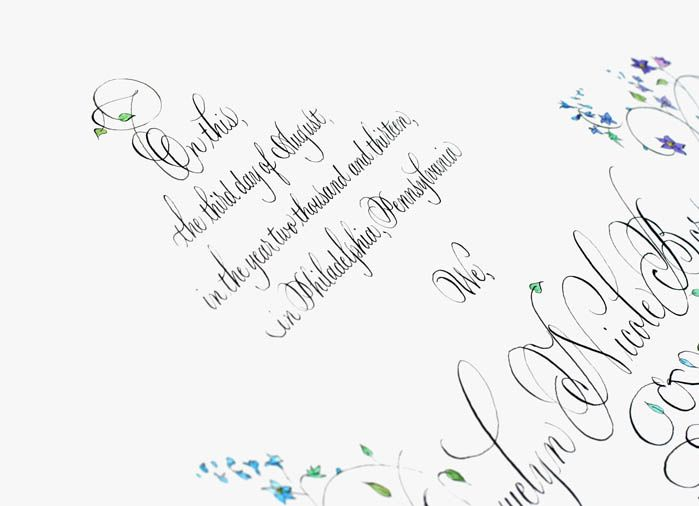 Wedding certificate calligraphy sally s