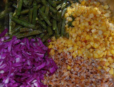 Roasted green bean, corn & farro salad-LOVE farro, such a great grain