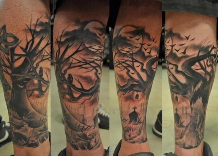 Graveyard Tattoo In Time For Halloween Forearm Tattoos