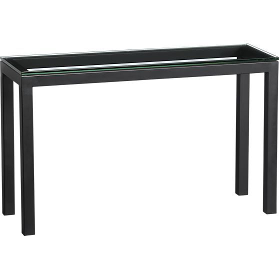 parsons console table with glass top in side coffee tables crate