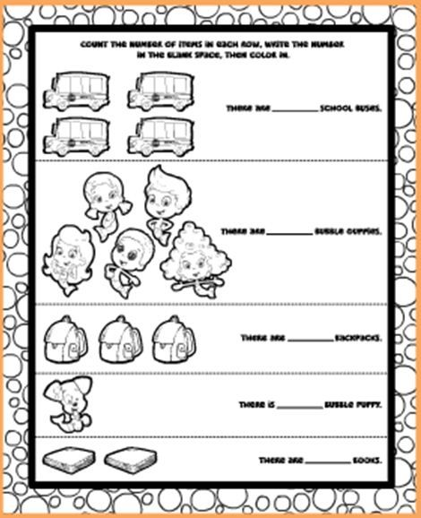 Color And Count With The Bubble Guppies In This Fun Print out