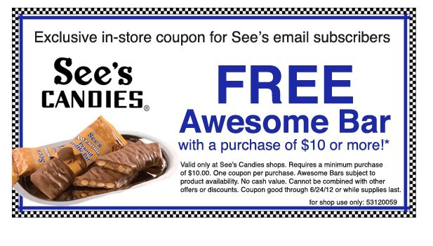 See's candy coupon codes 2018