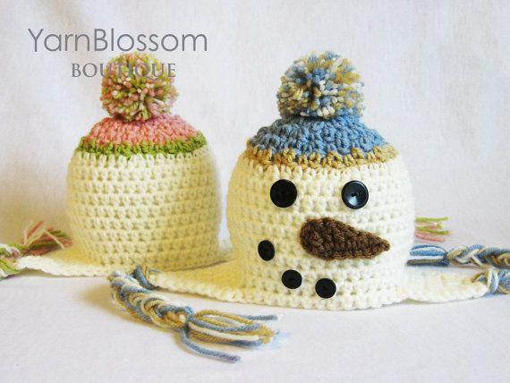 CROCHET PATTERN Snowman Earflap Hat (5 sizes included from ...