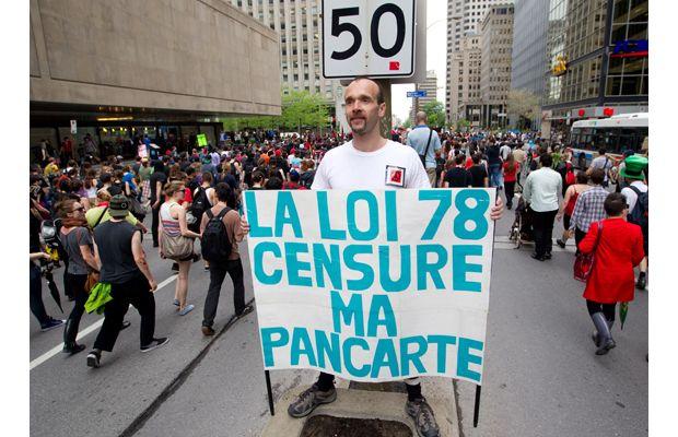 """Bill 78 censors my sign"""