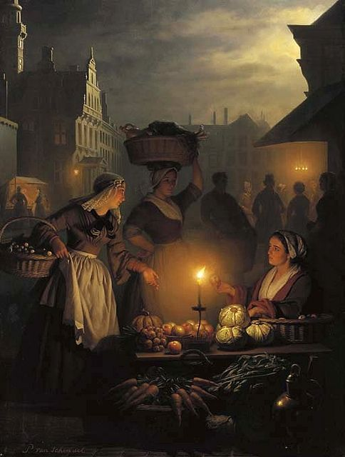 "nobilior:    Another Schendel classic of light and dark.      ""The night market"" by Petrus van Schendel"