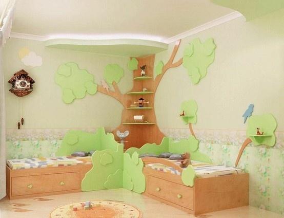 Corner bookshelf tree kids toys pinterest for Corner tree bookcase