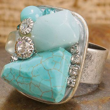 Shopping at Femail Creations - Turquiose & Crystal Square Ring