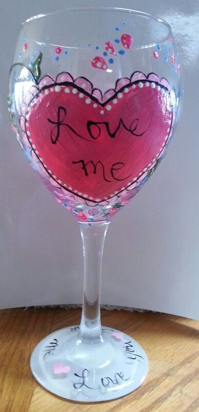 Valentine hand painted wine glass wine glasses pinterest