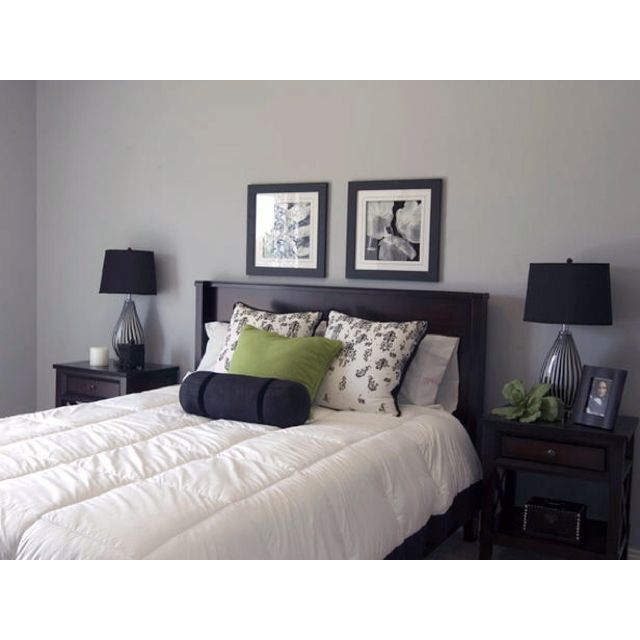 Gray Bedroom With Green Accent Home Interior Pinterest