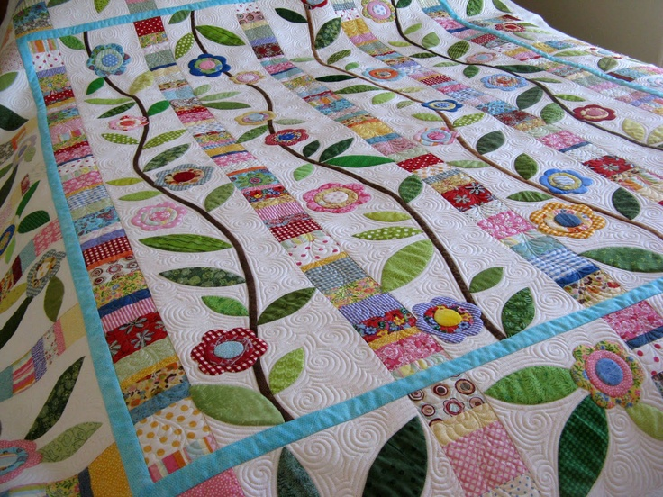 Зеленая фея Одеяла: Мне очень нравится стежка на этой веселой аппликацией одеяло