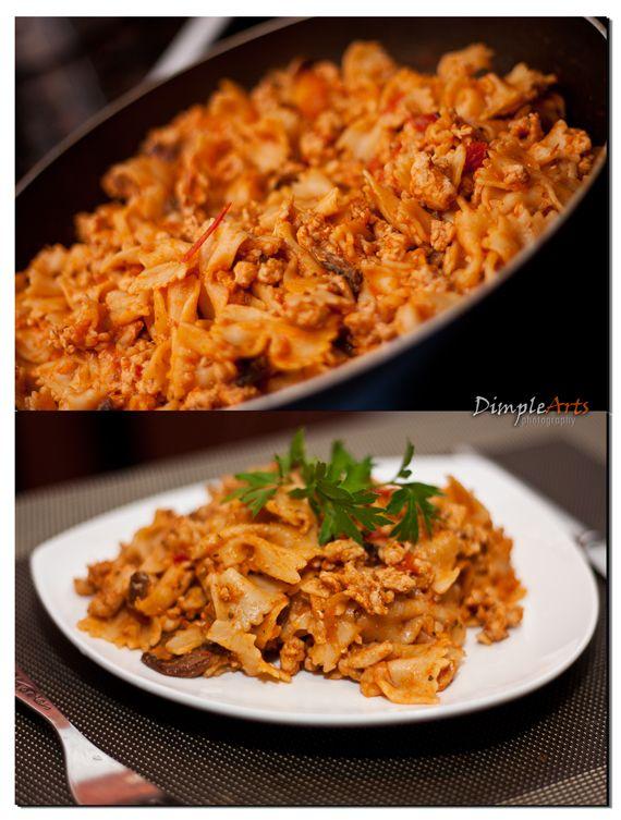 Farfalle Turkey and Mushroom Casserole (ground turkey, farfalle pasta ...