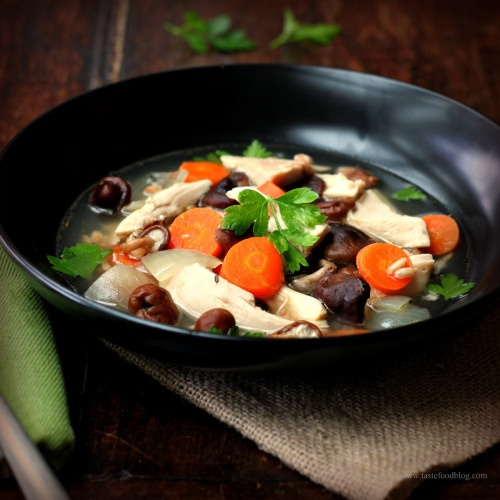 Chicken and Farro Soup with Shiitake Mushrooms