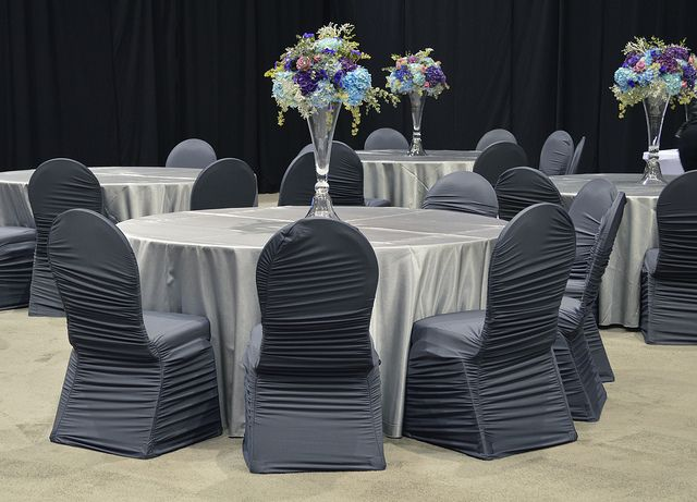 dark grey spandex chair covers and matte satin silver linen are a good