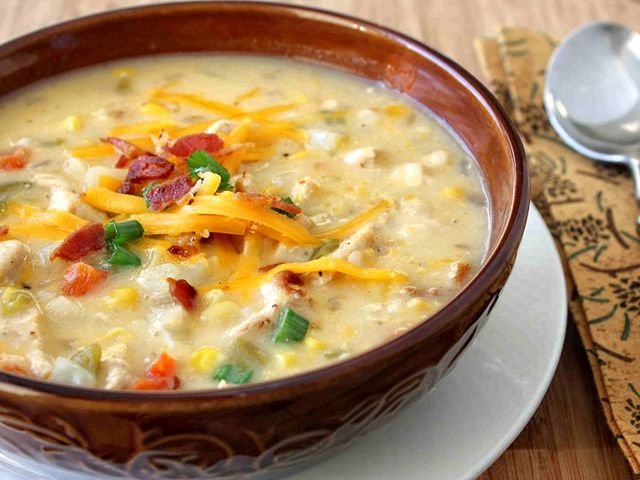 Chicken, Corn and Potato Chowder with Green Chiles & Cheddar Cheese ...