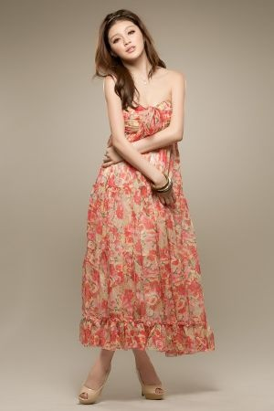 Bohemia Floral Strapless Long Chiffon Dress