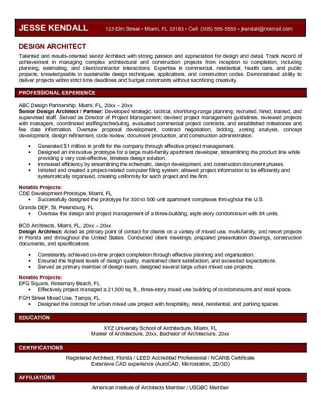 best resume format architects