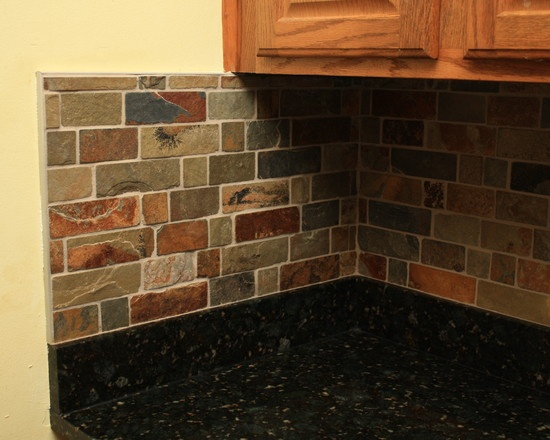 Slate Stone Julie : Small subway slate tile kitchen remodel pinterest