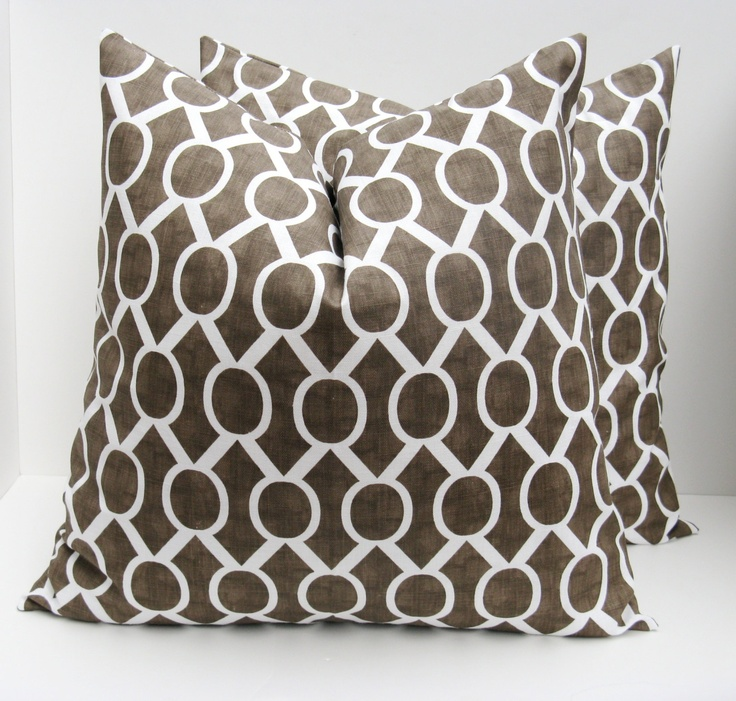 Throw Pillow Covers 18x18 : Throw Pillow Covers 18x18..Brown and White Pillow.Decorative Pillow C?