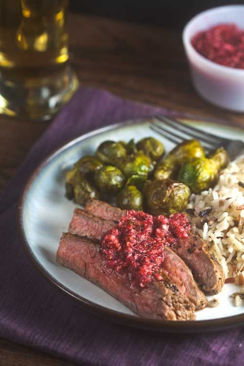 Coffee Rubbed Flank Steak with Cranberry Salsa. Great for the holidays ...