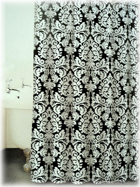 Black White Damask Shower Curtain College Life