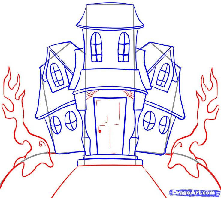 How To Draw A Haunted House Halloween Pinterest