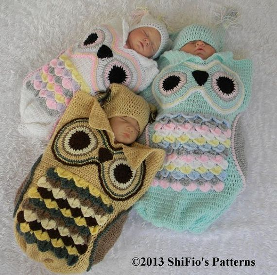 Baby Crochet Pattern Cocoon, Papoose, Hat Owl Crochet Pattern 3 Sizes ...