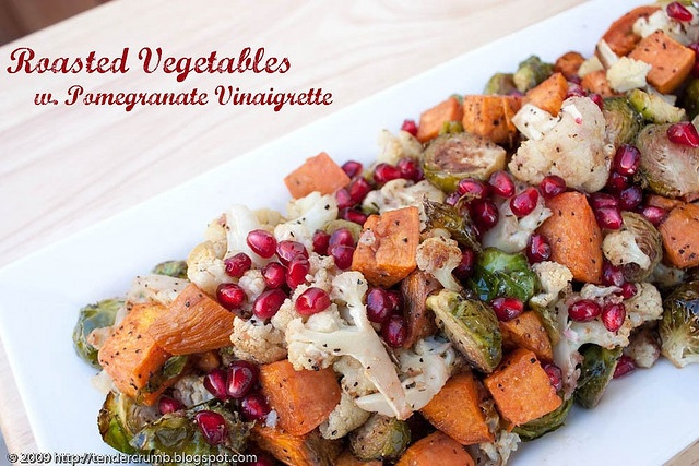 ... and I am excited to try Roasted Veggies with Pomegranate Vinaigrette