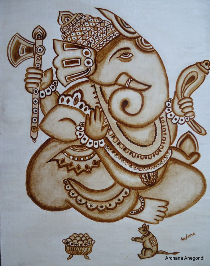 Ganesha coffee art by archana art pinterest for Coffee painting designs
