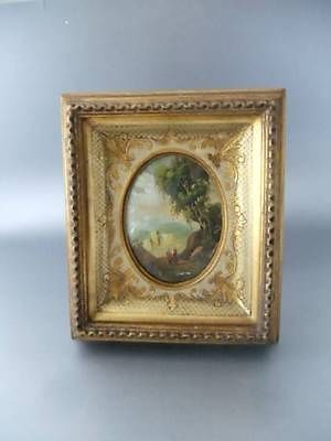 Antique Vtg Miniature Italian Oil Painting on Gold Gilt Wood Convex ...