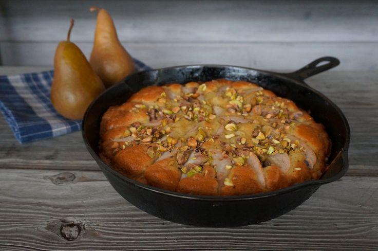 Grandma's Delcious Skillet Pear Cake made with pistachio, vanilla ...