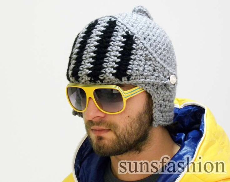 Crocheted Knight Helmet hat Crochet Slouch Mens Convertible Helmet Hat ...