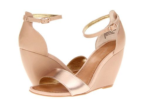 Rose gold summer wedges.