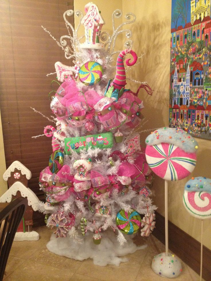 Lollipop candy christmas christmas theme tree ideas for Candy xmas tree decoration