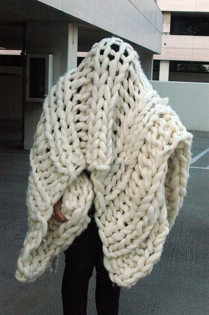 giganto-blanket. She made it with pvc pipes for knitting needs.