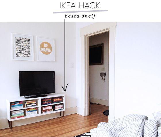 ikea hack besta shelf to tv stand diy crafts pinterest. Black Bedroom Furniture Sets. Home Design Ideas