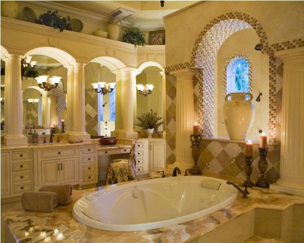 Homes Mediterranean Home Bathroom Decor House Design Ideas