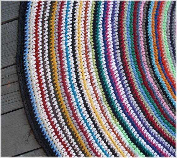 Large Rag Rug made from t shirts 70 inches