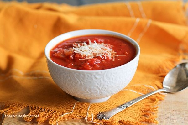 Chunky Tomato Basil Soup - this was fabulous! I had to force myself to ...