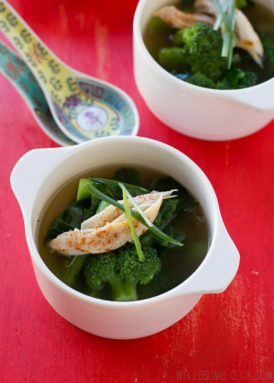 Healing Chicken Soup with Greens and Ginger. Gluten Free & Dairy free.