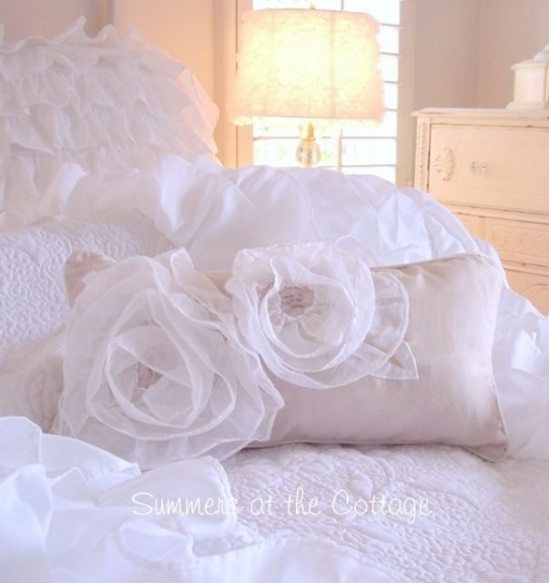 Shabby Chic Bedroom Throw Pillows : White ruffled roses shabby cottage chic taupe accent pillow