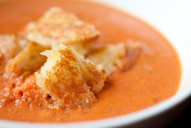 "Cheese & Chocolate: Sherried Tomato Soup with grilled cheese ""crouto..."