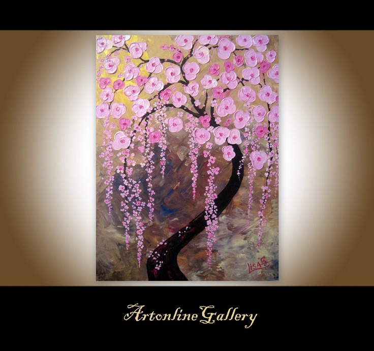 Original painting cherry blossoms tree of life painting for Cherry blossom canvas painting