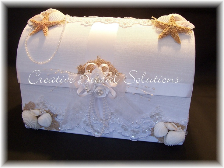 Seashell Treasure Chest Wedding Gift Card Box Holder. USD125.00, via ...