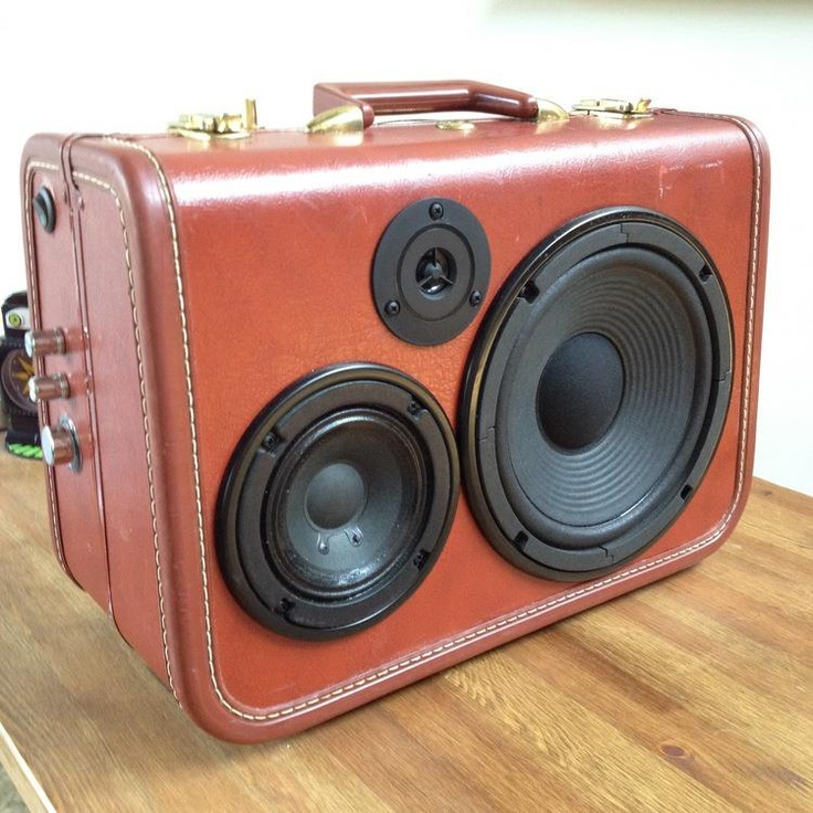 Speakers in Vintage Suitcase